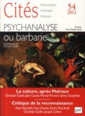 Revue Cites N.54 ; Psychanalyse : Une Mauvaise Passe ? - Couverture - Format classique