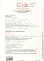 Revue Cites N.54 ; Psychanalyse : Une Mauvaise Passe ? - 4ème de couverture - Format classique