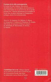 L'Esthetique De La Rue ; Colloque D'Amiens - 4ème de couverture - Format classique