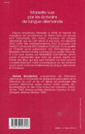Marseille Vue Par Les Ecrivains De Langue Allemande - 4ème de couverture - Format classique