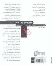 Temps Du Sublime - 4ème de couverture - Format classique