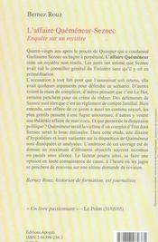 L'affaire quéméneur-seznec - 4ème de couverture - Format classique