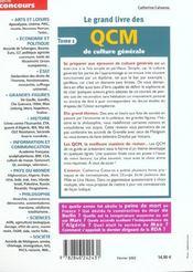 Le Grand Livre Des Qcm De Culture Generale ; Edition 2002 - 4ème de couverture - Format classique