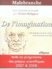 Malebranche De L'Imagination Texte Au Programme Des Prepas Scientifiques 2007 & 2008 - Intérieur - Format classique