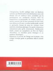 Malebranche De L'Imagination Texte Au Programme Des Prepas Scientifiques 2007 & 2008 - 4ème de couverture - Format classique