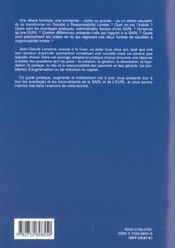Guide Juridique Et Pratique De La Sarl Et De L'Eurl ; Edition 2002 - 4ème de couverture - Format classique