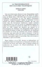 La Transformation Des Cultures Techniques ; Merlin Gerin, 1920-1996 - 4ème de couverture - Format classique
