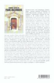 Comment Entrer En Franc-Maconnerie ? - 4ème de couverture - Format classique