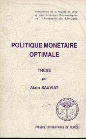 Politique Monetaire Optimale - Couverture - Format classique