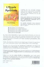 L'Oracle De La Pyramide - 4ème de couverture - Format classique