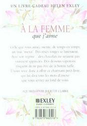 À la femme que j'aime (édition 2003) - 4ème de couverture - Format classique