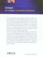Lexique de l'anglais comptable et financier (2e édition) - 4ème de couverture - Format classique