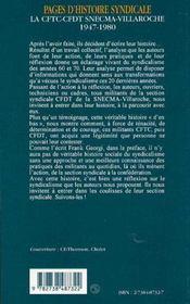 Pages d'histoire syndicale ; la CFTC-CFDT chez SNECMA-villaroche ; 1947 à 1980 - 4ème de couverture - Format classique