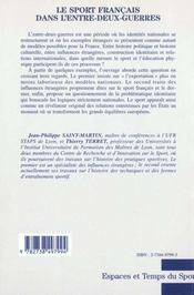 Le Sport Francais Dans L'Entre-Deux-Guerres ; Regards Croises Sur Les Influences Etrangeres - 4ème de couverture - Format classique