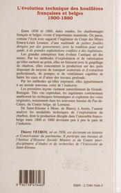 L'Evomution Technique Des Houilleres FranÇaises Et Belges 1800-1880 - 4ème de couverture - Format classique