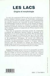 Les Lacs ; Origine Et Morphologie - 4ème de couverture - Format classique