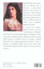 La Bible au féminin t.1 ; Sarah - 4ème de couverture - Format classique