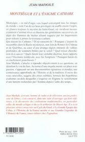 Montsegur Et L'Enigme Cathare - 4ème de couverture - Format classique