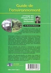 Guide De L'Environnement - 4ème de couverture - Format classique