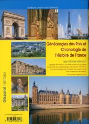 Généalogies des rois et chronologie de l'histoire de France - 4ème de couverture - Format classique