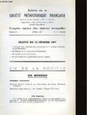 Bulletin De La Societe Prehistorique Francaise - Comptes Rendus Des Seances Mensuelles - Tome 64 - Annee 1967 - N°2 Fevrier - Couverture - Format classique