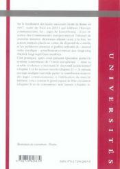 Droit du contentieux communautaire ; système et marché intérieur - 4ème de couverture - Format classique