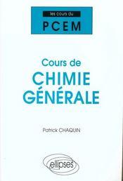 Cours De Chimie Generale - Intérieur - Format classique