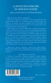 La Protection Judiciaire Du Mineur En Danger ; Aspects De Droit Interne Et De Droits Europeens - 4ème de couverture - Format classique