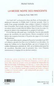 La Messe Noire Des Innocents - 4ème de couverture - Format classique