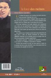 Force Des Racines (La) - 4ème de couverture - Format classique