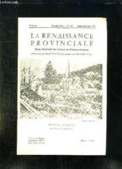 La Renaissance Provinciale N° 135 Juillet Aout Septembre 1961. L Eglise De Jouy En Josas Par Dunoyer De Segonzac... - Couverture - Format classique