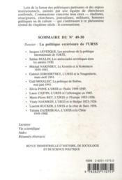Revue Communisme N.49/50 ; La Politique Extérieure De L'Urss - 4ème de couverture - Format classique