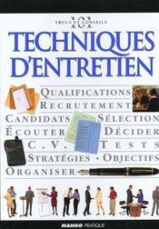 Techniques D'Entretien. Qualifications, Recrutement, Candidats, Sélection, Écouter... - Intérieur - Format classique