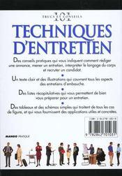 Techniques D'Entretien. Qualifications, Recrutement, Candidats, Sélection, Écouter... - 4ème de couverture - Format classique