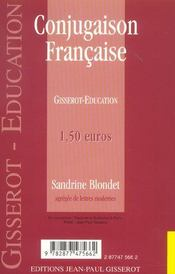 Conjugaison Francaise - 4ème de couverture - Format classique