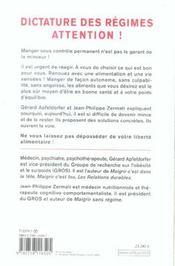 Dictature Des Regimes. Attention ! - 4ème de couverture - Format classique