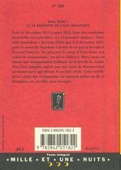 Le 18 Brumaire De Louis Bonaparte - 4ème de couverture - Format classique