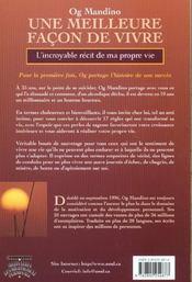 Une Meilleure Facon De Vivre - L'Incroyable Recit De Ma Propre Vie - 4ème de couverture - Format classique