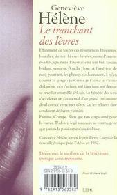 Le tranchant des lèvres - 4ème de couverture - Format classique