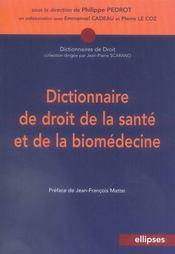 Dictionnaire de droit de la santé et de la biomédecine - Intérieur - Format classique