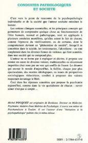 Conduites Pathologiques Et Societe - 4ème de couverture - Format classique