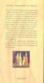 Basilic, Marjolaine Et Origan - 4ème de couverture - Format classique