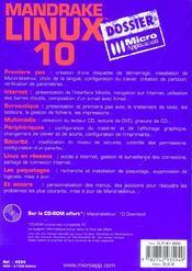 Mandrake Linux 10 - 4ème de couverture - Format classique