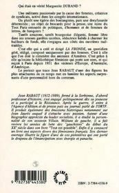 Marguerite Durand - 4ème de couverture - Format classique