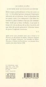 La Deuxieme Mort De Toussaint Louverture - 4ème de couverture - Format classique