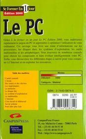 Se Former Au Pc En Un Jour Edition 2000 - 4ème de couverture - Format classique