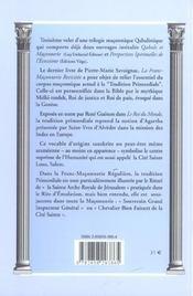 La Franc-Maconnerie Revisitee ; Fondations Cryptiques Et Tradition Primordiale - 4ème de couverture - Format classique