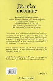 De Mere Inconnue - 4ème de couverture - Format classique