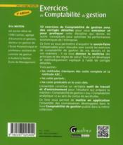 Exercices de comptabilité de gestion avec corrigés détaillés 2012-2013 (3e édition) - 4ème de couverture - Format classique