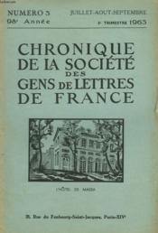 CHRONIQUE DE LA SOCIETE DES GENS DE LETTRES DE FRANCE N°3, 98e ANNEE ( 3e TRIMESTRE 1963) - Couverture - Format classique